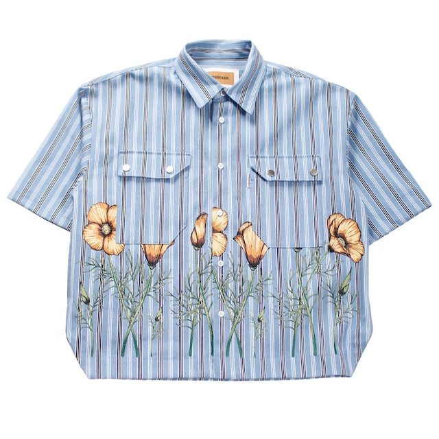 MINDSEEKER Overfit Flower Stripe Short Sleeve Shirt