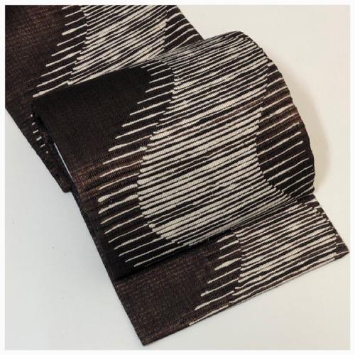 ★ 美品 袋帯 よろけ 正絹 茶 白 織帯 ★ 3146