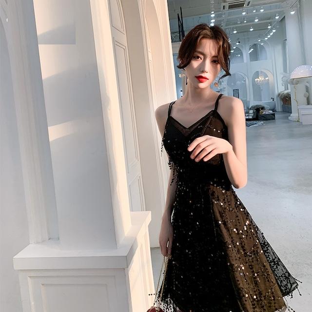パーティードレス ショートドレス 成人式 演奏会 発表会 結婚式 二次会 プレゼント XS S M L LL 3L 気質良い レトロ 着痩せ シンプル ビーズ スパンコール ジャンパースカート ブラック 黒い
