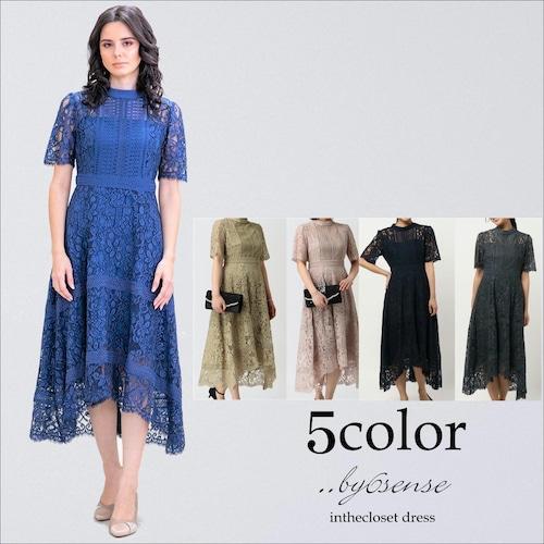 5color 半袖ヘムスタイル 結婚式・セレモニー・パーティードレス ..by6senseドレス