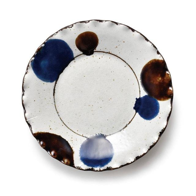 aito製作所 「るり玉 Dots of Ruri」渕波 プレート 皿 大 約22cm グレー 美濃焼 288084