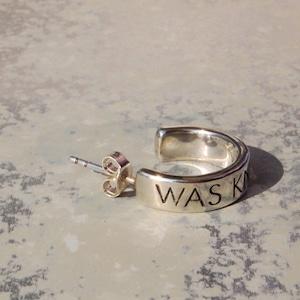 ロゴフープピアス シルバーピアス メンズ レディース|W.K.W. LOGO HOOP PIERCED EARRING|silver925 FA-116