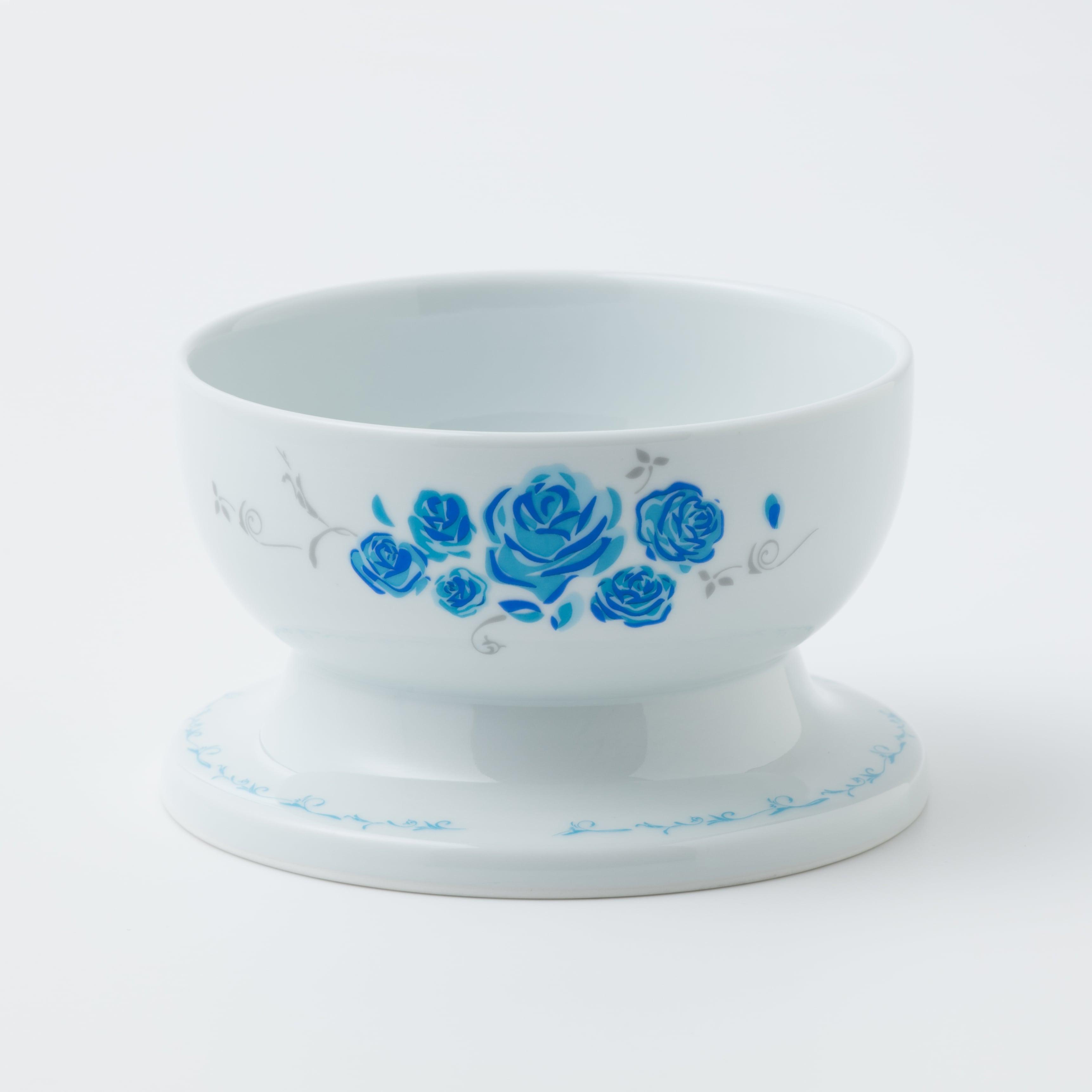 有田焼【ローズ】 ロータイプ(水用) ブルー 製造:江口製陶所