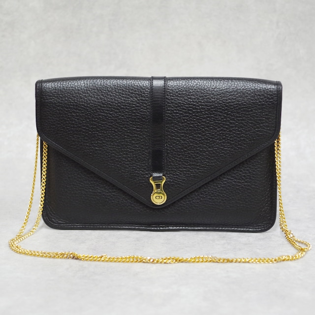 Christian Dior ディオール チェーンショルダーバッグ ブラック レザー