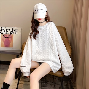 ワッフルホワイトセーター