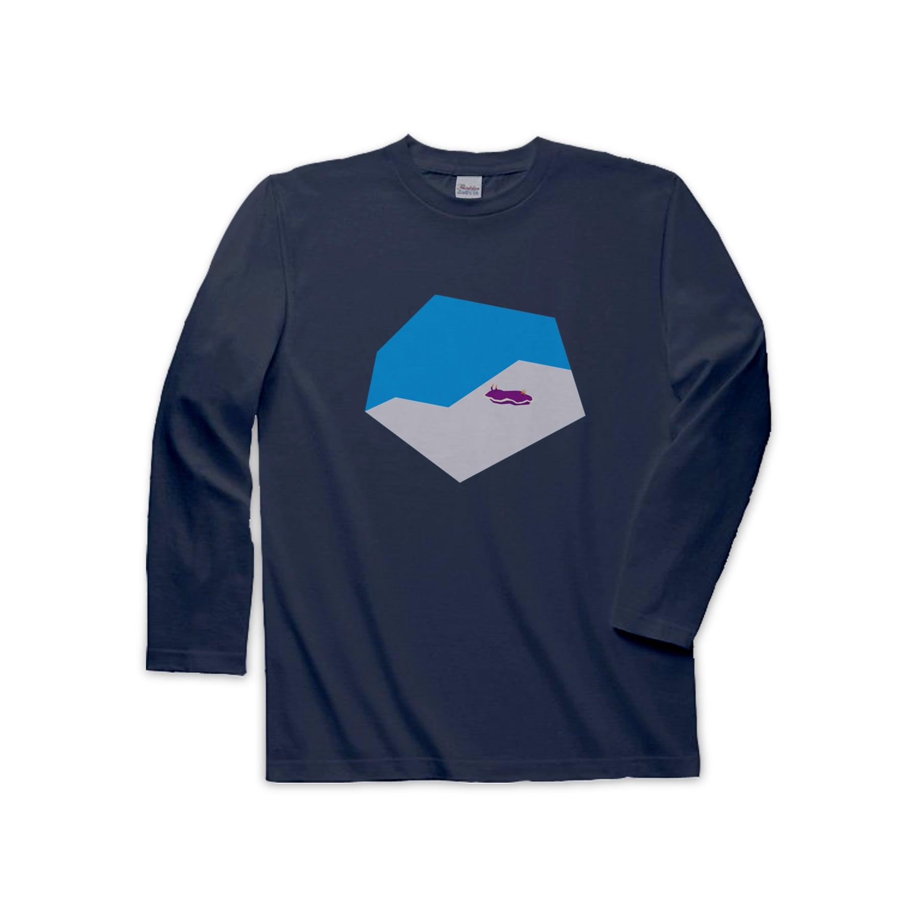動物Tシャツ(長袖)-ウミウシ(ネイビー)