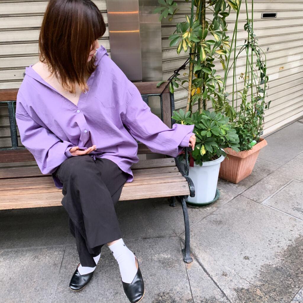 パープルシャツ|淡い ロング ユニセックス