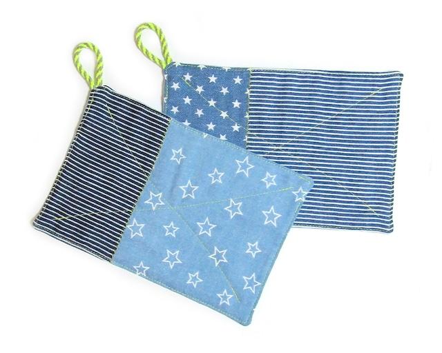 カジュアルなダブルガーゼ デニム風リバーシブルふきん 台布巾 ぞうきん 雑巾 2枚セット