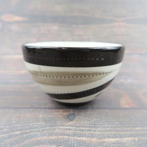 小石原焼 4寸多用鉢 トビカンナ 薄茶黒渦 鶴見窯