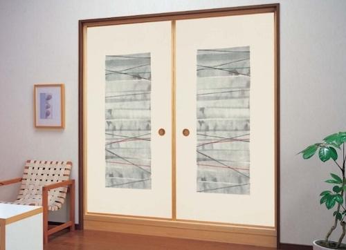 モダンふすま紙 墨麗(sumire)715 織物(糸入り)ふすま紙 洋間・洋室 203cm×99cm 1枚   黒・ブラック系おしゃれふすま紙