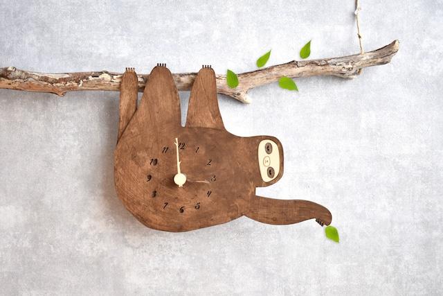 ナマケモノとチルアウトできる時計 木製 掛け時計
