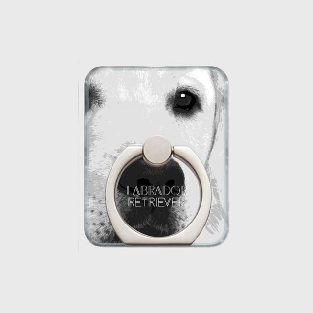 ラブラドールレトリバー おしゃれな犬スマホリング【IMPACT -shirokuro- 】
