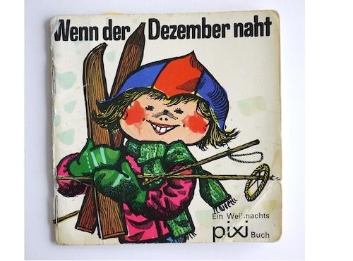 ヴィンテージミニ絵本 12月が近づくにつれて ピクシークリスマス絵本 手のひら絵本