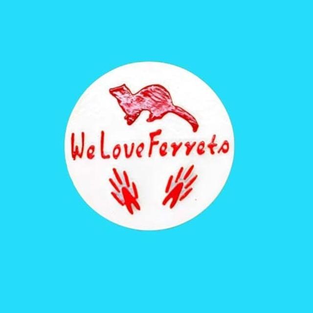 We Love Ferrets マグネットステッカー ③ キャスト製(直径80mm)(ホワイト・文字:レッド)