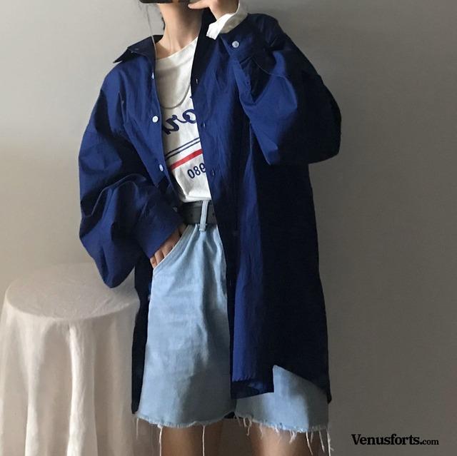 【トップス】無地カジュアルシャツ43010014