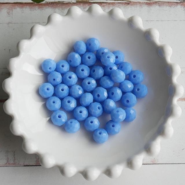 【444b-p1】10pcs  カラフルカットガラスビーズ ブルー 7×6mm