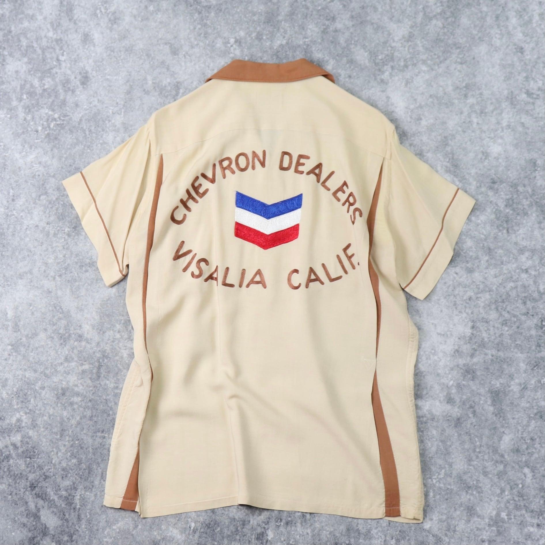 """60年代 """" Hilton """" ヒルトン ボーリングシャツ メンズM チェーン刺繍 3段 ヴィンテージ 古着"""