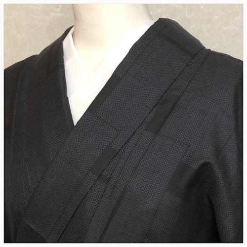 ★美品 大島紬 藍 市松 しつけ付き ★縁ちゃぶ 3039