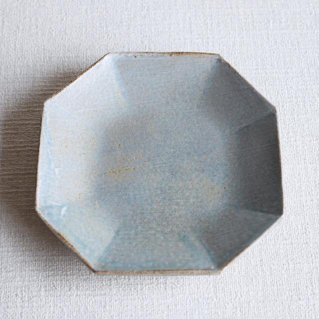 刷毛目八角6寸皿 Blue