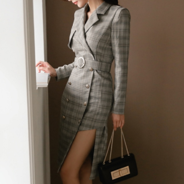 アシメトリー スタイルアップドレス ワンピース レデイース パーティードレス 上品 ラペル ベルト チェック柄