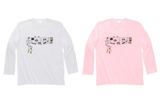 五線譜ネコの長袖Tシャツ
