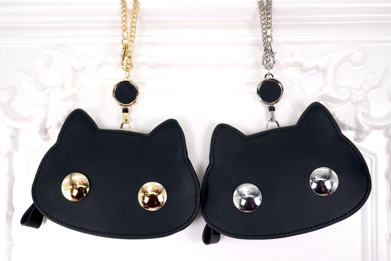 猫連合リール付きパスケース(ゴールド/シルバー)猫型定期入れ
