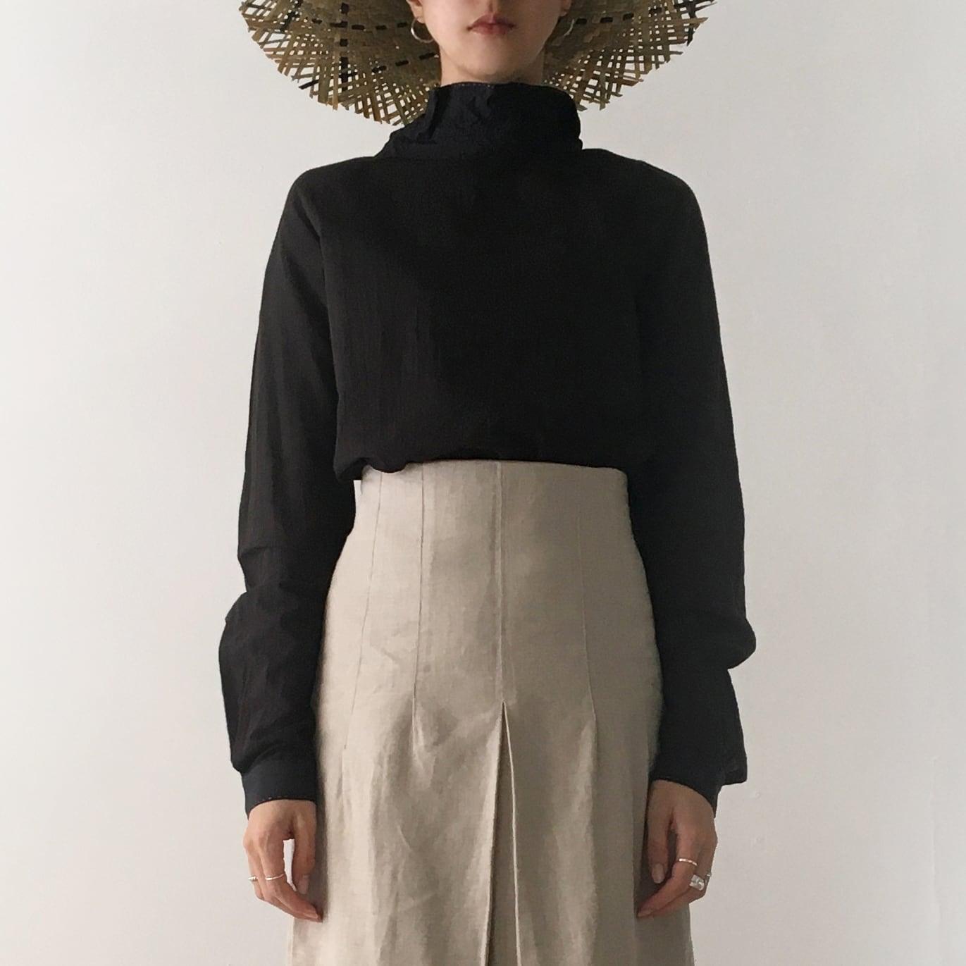 "High neck gather blouse ""black"" organic cotton"