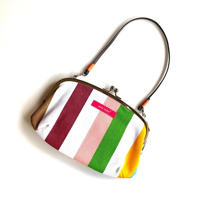 北欧デザイン ストラップ付がまぐち横長財布 | stripe1