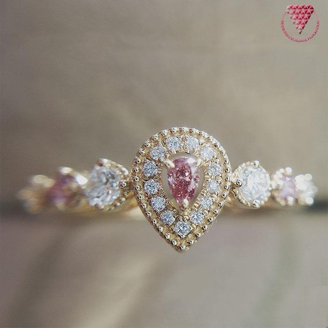 メイン 0.047 ct Fancy Vivid Pink VS2 & サイド  Fancy Intense Purplish Pink ピンク ダイヤモンド リング