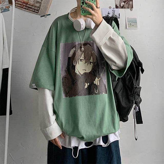 【トップス】切り替えしカートゥーンファッションルーズTシャツ42906975