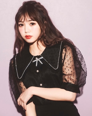 【ManonMimie】Dot See-through Blouse