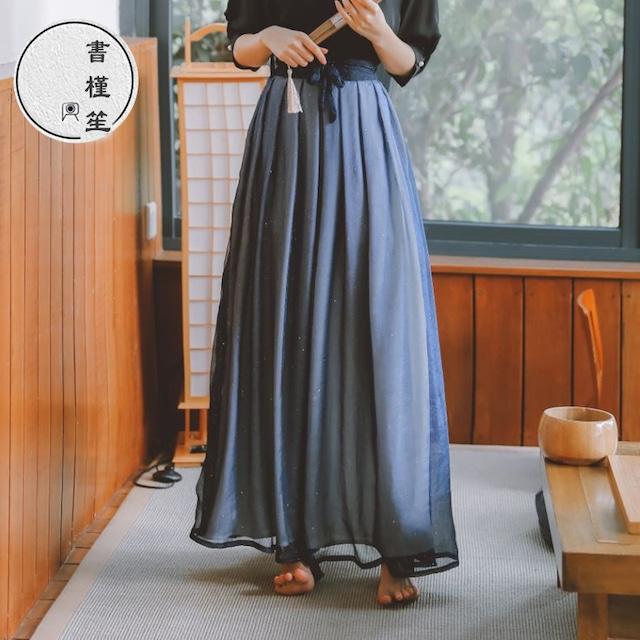 【書槿笙シリーズ】★チャイナ風スカート★ 巻きスカート キラキラ ロング丈 可愛い ブルー 青い S M L