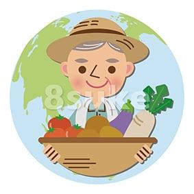 イラスト素材:農産物のグローバル化促進のイメージ(ベクター・JPG)