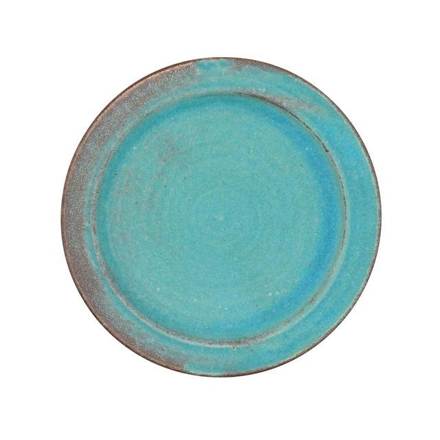 益子焼 わかさま陶芸 プレート 皿 S 約17cm シャビーターコイズ 256227