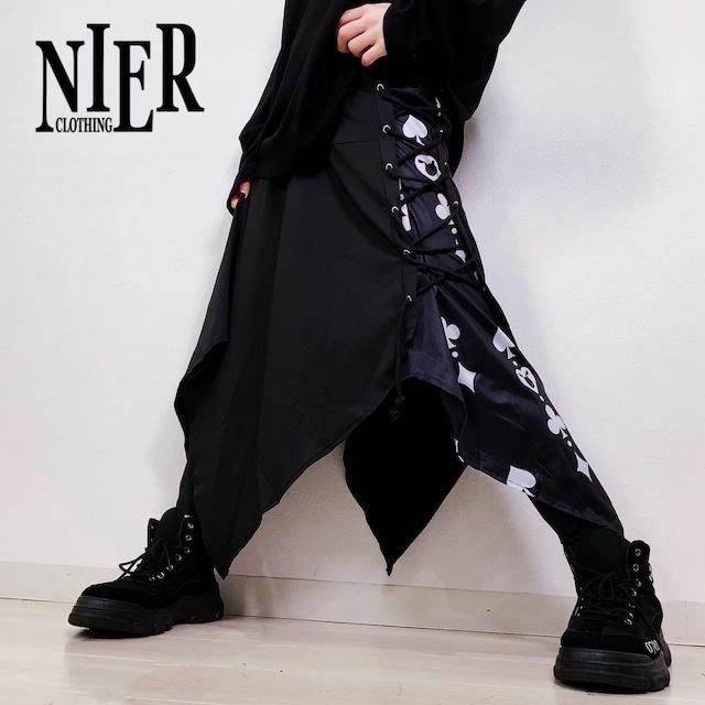 変則フラップスカート付きBRAID PANTS【♠♡♣♢】