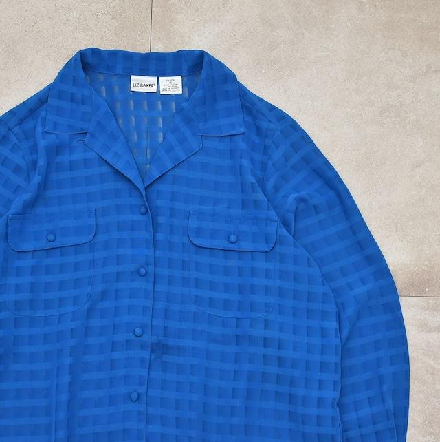 90's LIZ BAKER sheer gingham check shirt