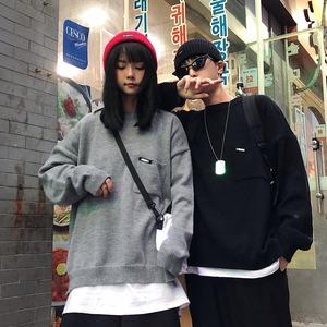 【トップス】韓国系長袖透かし彫り無地ラウンドネックプルオーバーセーター43009958