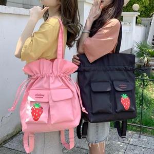 【お取り寄せ】 2WAY いちご巾着 バッグ 3色