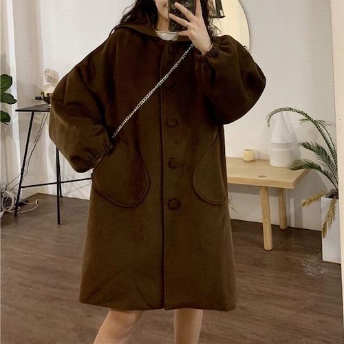 フード付き コート 韓国ファッション レディース ポケット ランタンスリーブ アウター ロング丈 ウールコート レトロ DTC-606921346543