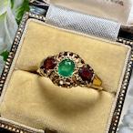 イギリス1903年アンティークリングK18 大きなエメラルド ガーネットの指輪