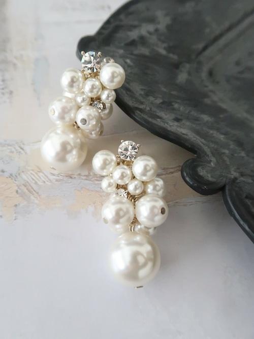 パールビジューミュゲ earring OR pierce 【0325-18】