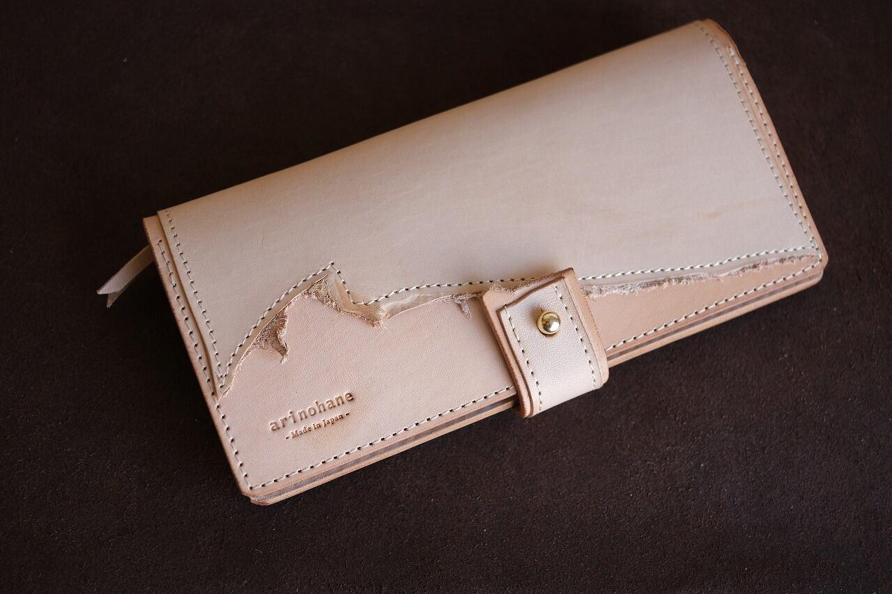牛ヌメ革の端切れを使って作った長財布