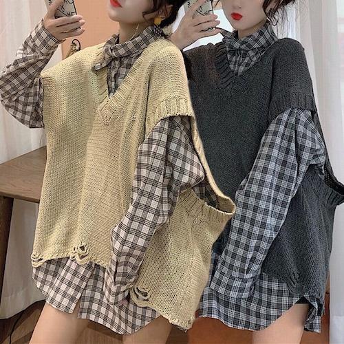 ニットベスト ダメージ加工 韓国ファッション レディース クラッシュ加工 ノースリーブ 無地 Vネック 秋 冬 DTC-601823900318_001