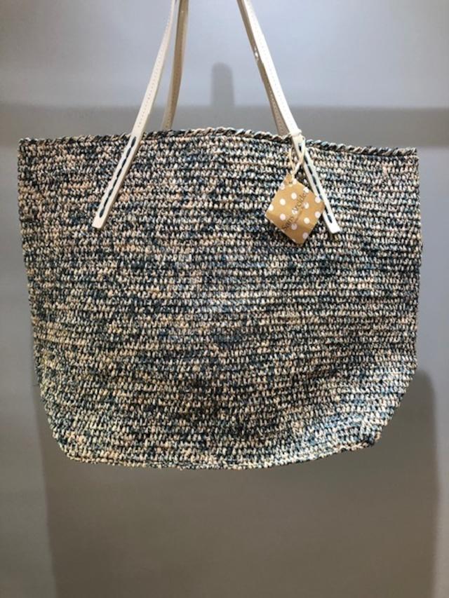 Sans Arcidet(サンアルシデ)BEBY BAG  S Handle:C Col.The,Natural/Jean Mixed ラフィアトートバッグ 白エナメルハンドル マダガスカル製