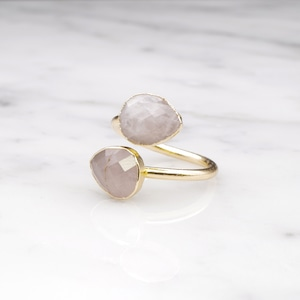 DOUBLE STONE OPEN RING GOLD 053