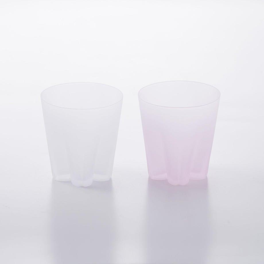 SAKURASAKU glass (サクラサクグラス) Frost Rock(ロック)【雪桜・紅白】ペアセット 木箱入り