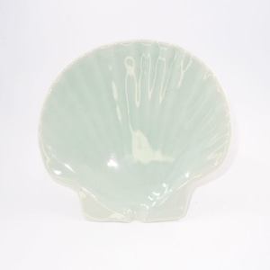 ホタテ貝皿(よもぎ色)T-8
