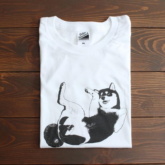 【即納可】シンプルかわいい!へそてんポーズの柴犬Tシャツ<レディースサイズ>