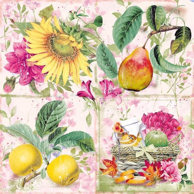【Nouveau】バラ売り2枚 ランチサイズ ペーパーナプキン Soleil d´Automne ピンク
