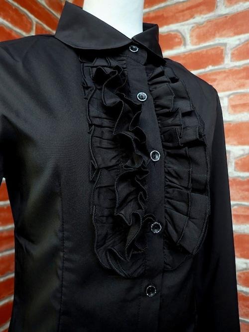 フリルブラウス 胸元フリルフォーマルブラウスM 黒